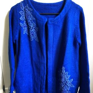 Sweaters - royal blue cardigan sweater with floral design